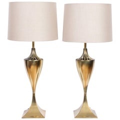 Tall Pair of Tony Paul for Westwood Industries All Brass Table Lamps, 1950s
