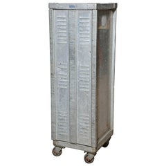 Tall Bucksco Enterprises Industrial Aluminium Rolling Locking Cabinet, 1950s