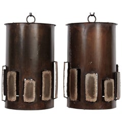 Pair of Harry Balmer Style Brutalist Bronzed Brass Torch Cut Vented Pendants