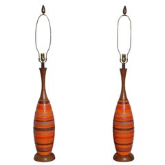 Tall Pair Charcoal Banded Orange Ceramic & Walnut Lamps