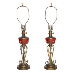 Tall Pair of Red Murano Glass and Brass Oil Lamp Style Table Lamps, 1940s