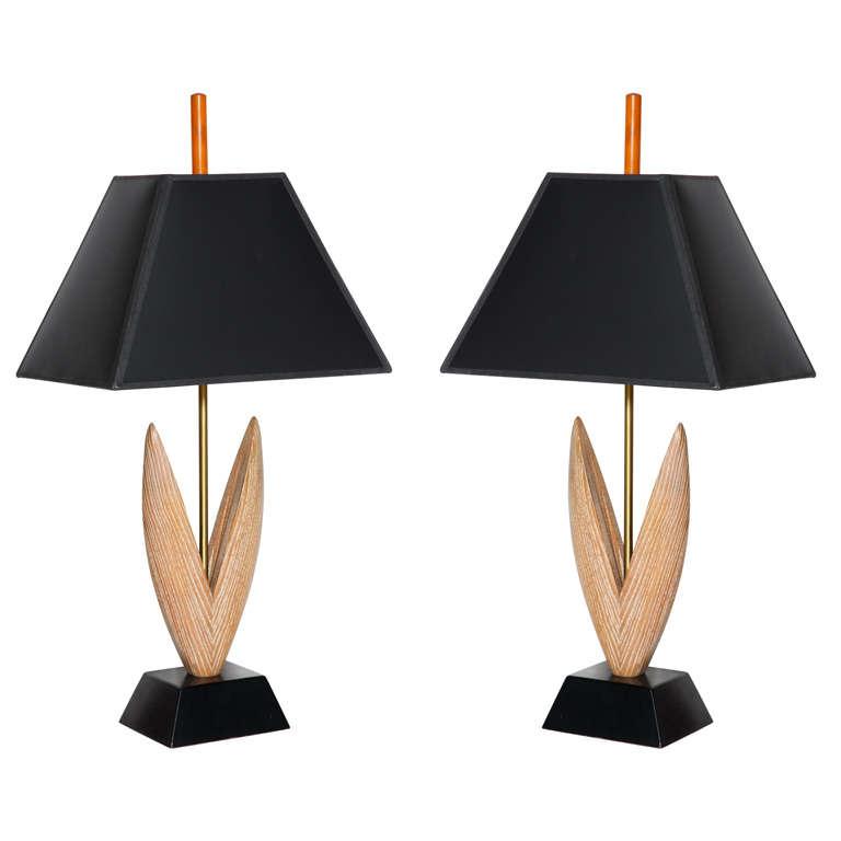 Pair Of Yasha Heifetz Limed Oak And Black Tulip Leaf Table Lamps