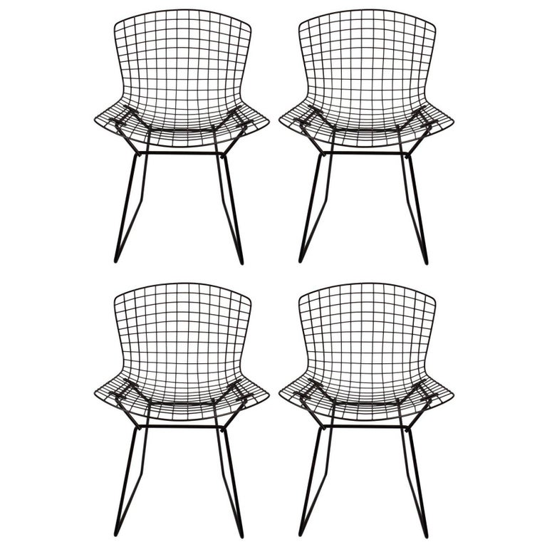 Set of Four Original Harry Bertoia for Knoll Black Wire