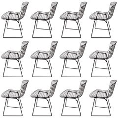 Set of 12 Original Harry Bertoia for Knoll Black Wire Side Chairs, Circa 1960