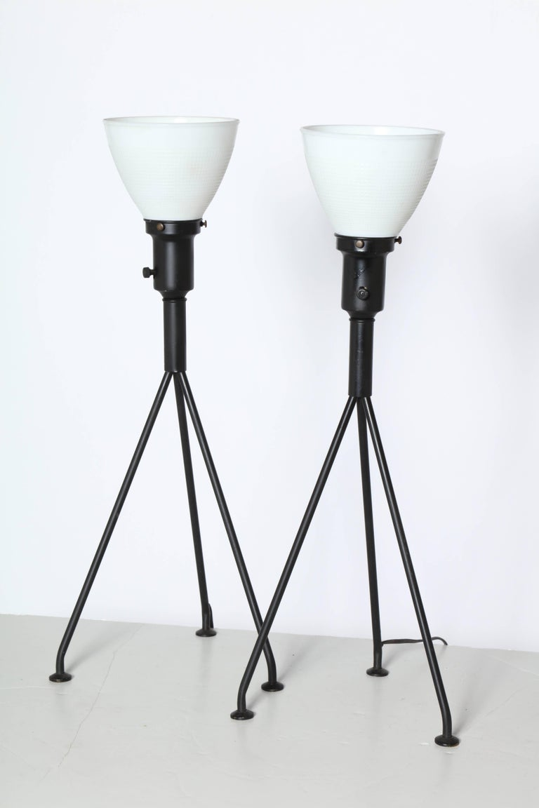 Mid-Century Modern Pair of Gerald Thurston Black Iron Tripod Table Lamps with White Glass Shades For Sale