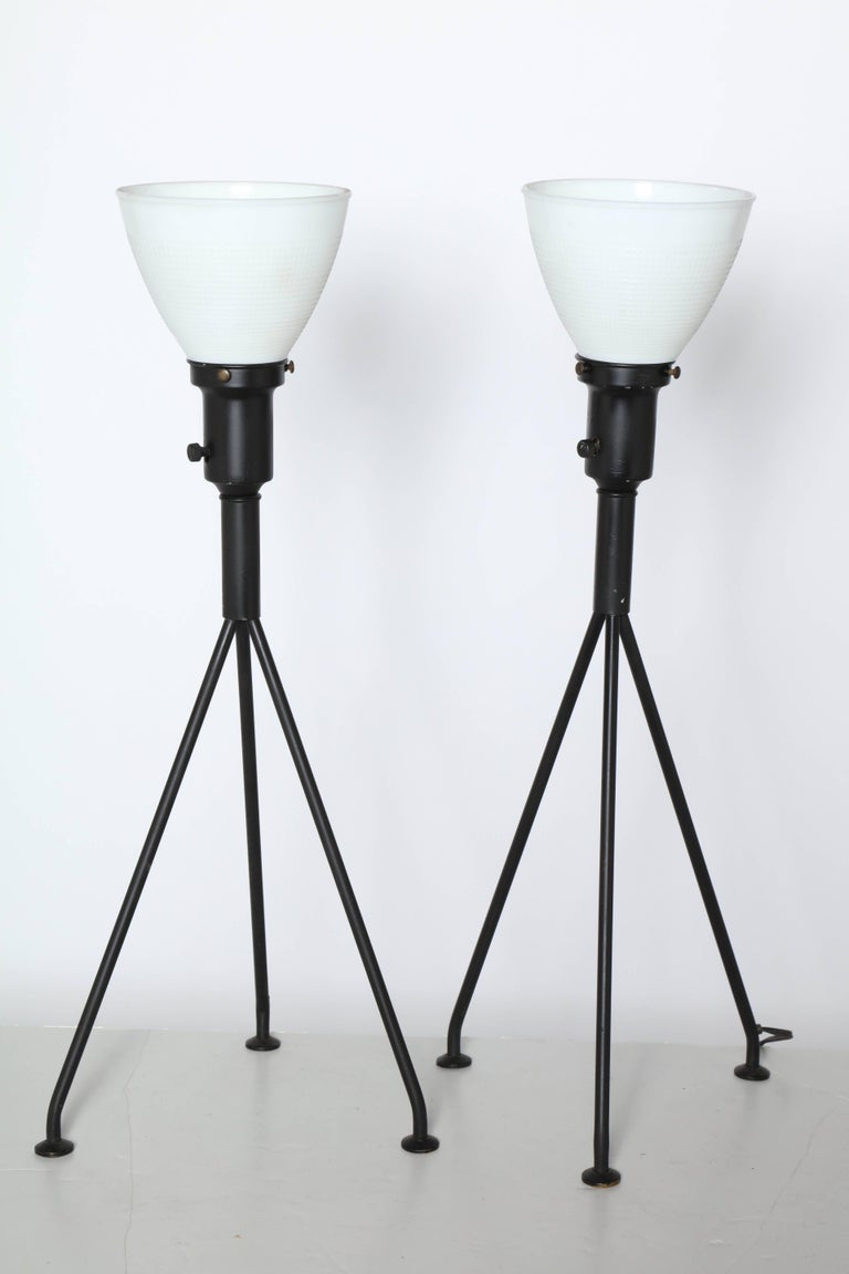 American Pair of Gerald Thurston Black Iron Tripod Table Lamps with White Glass Shades For Sale