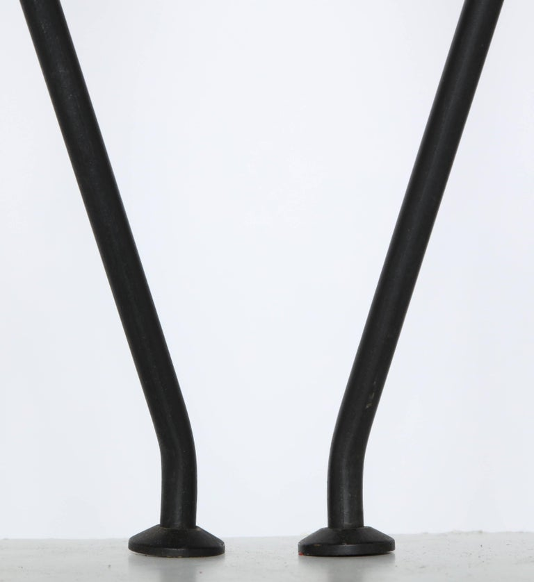 Mid-20th Century Pair of Gerald Thurston Black Iron Tripod Table Lamps with White Glass Shades For Sale