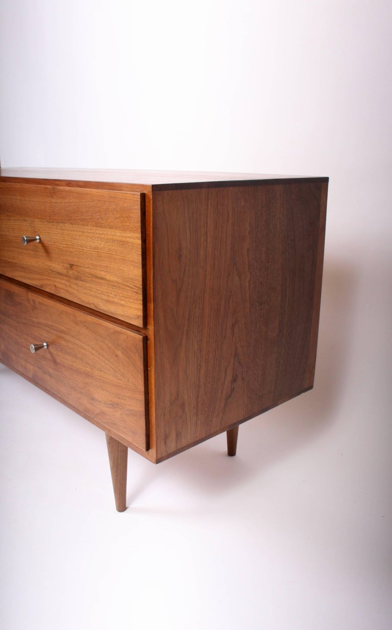 Mid-Century Modern Paul McCobb Solid Black Walnut Four-Drawer Low Dresser or Nightstand, 1960s For Sale