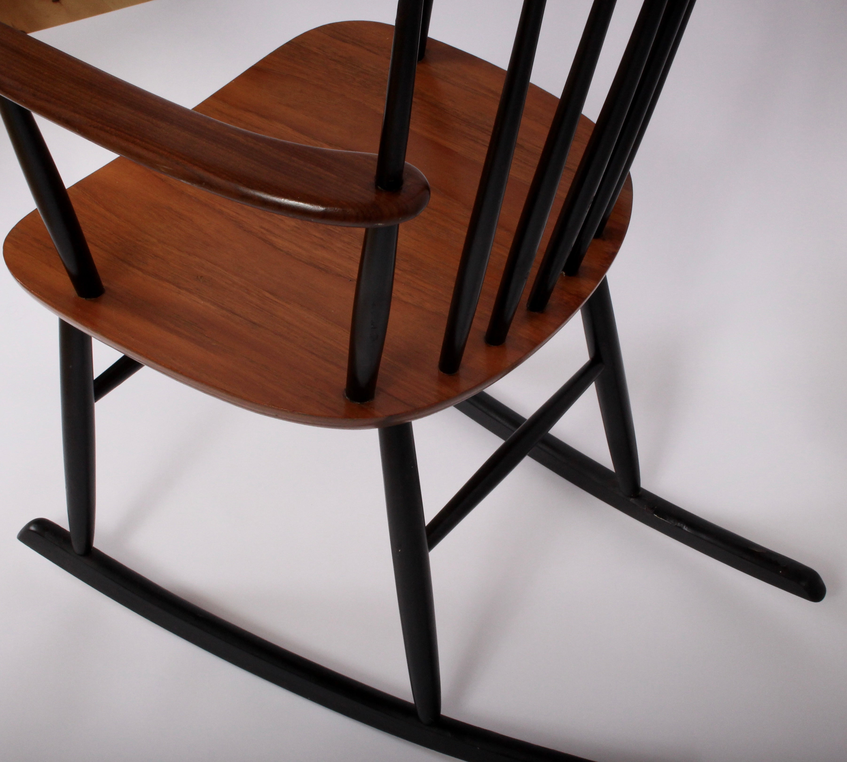 Danish Modern Teak And Black Lacquer Rocking Armchair, Circa 1960