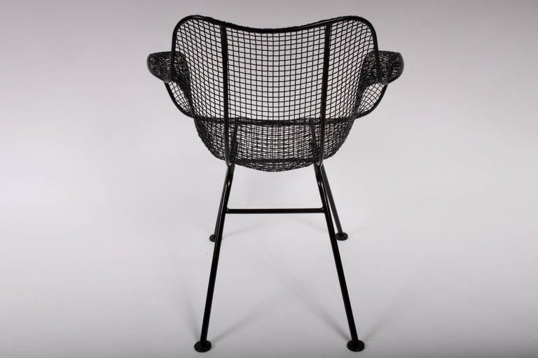 Mid-Century Modern Set of Four Russell Woodard Sculptura Black Iron Mesh Dining Armchairs, 1950s  For Sale