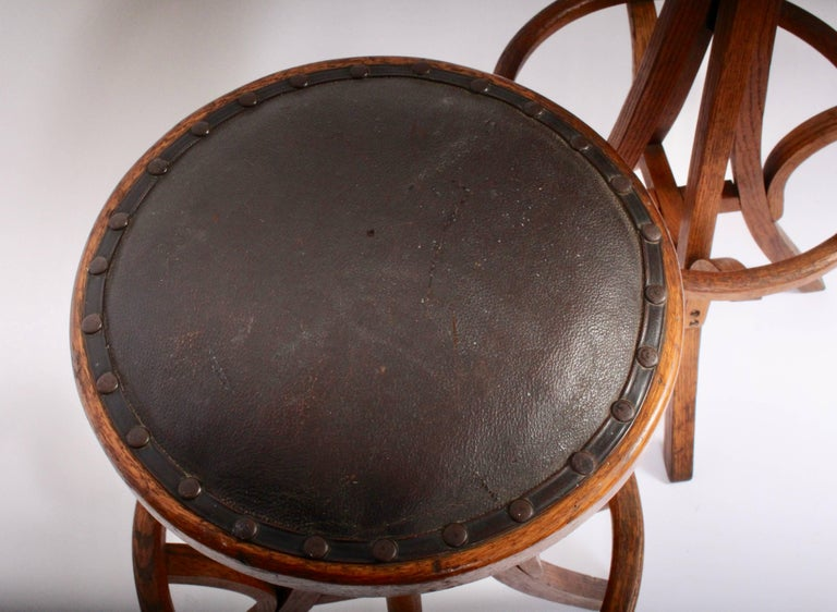 Industrial Pair Of Swivel Oak Work Stools With Leather