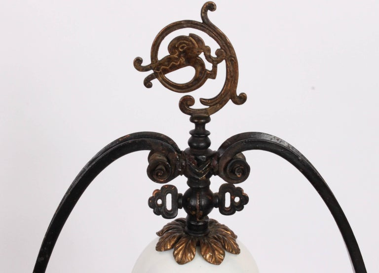 Oscar Bach Illuminated Bronze & Iron Book Display Stand with Stueben Bell Shade In Good Condition For Sale In Bainbridge, NY