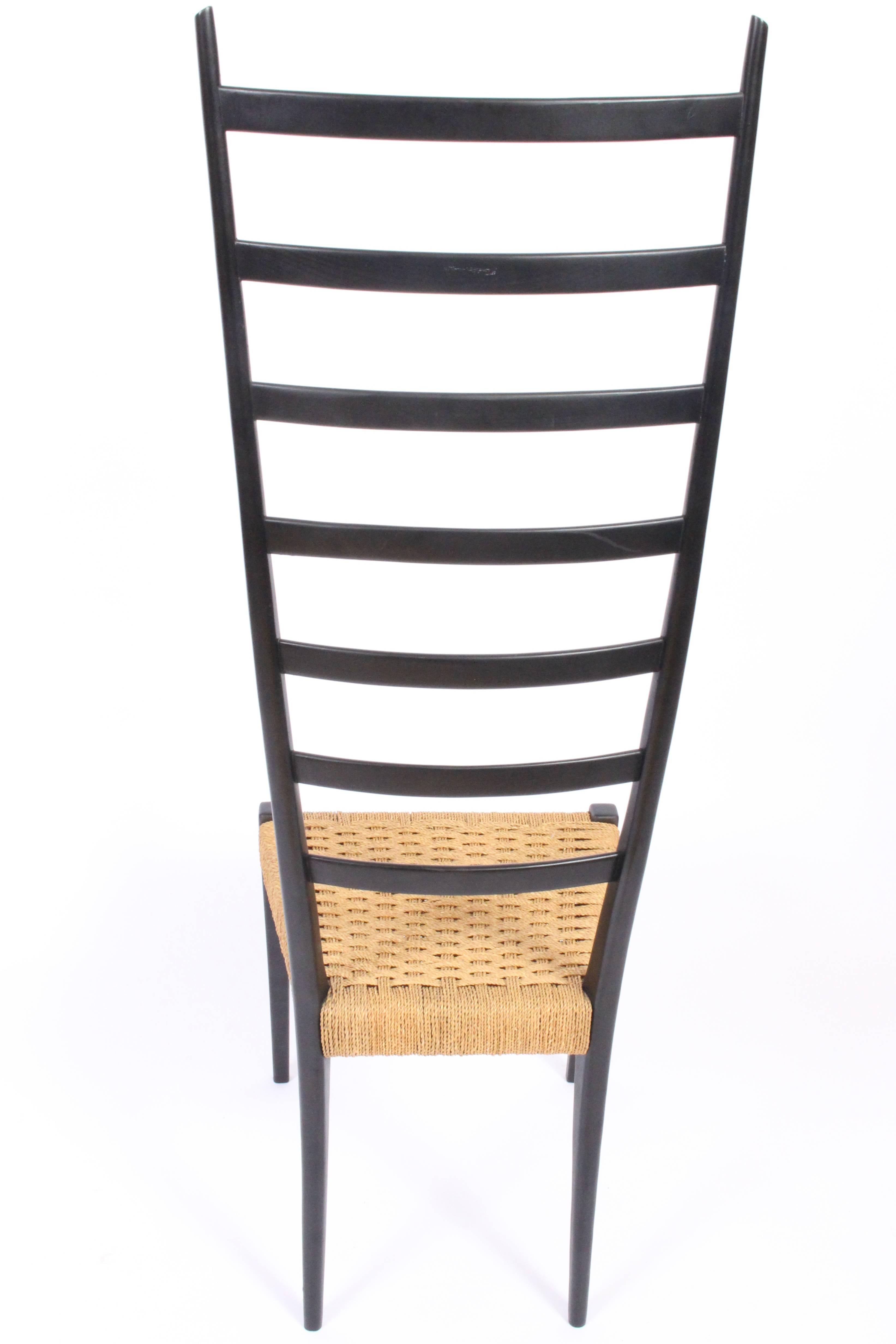 Lacquered Italian Modern Black Lacquer Ladderback Chair By Chiavari, Italy  For Sale