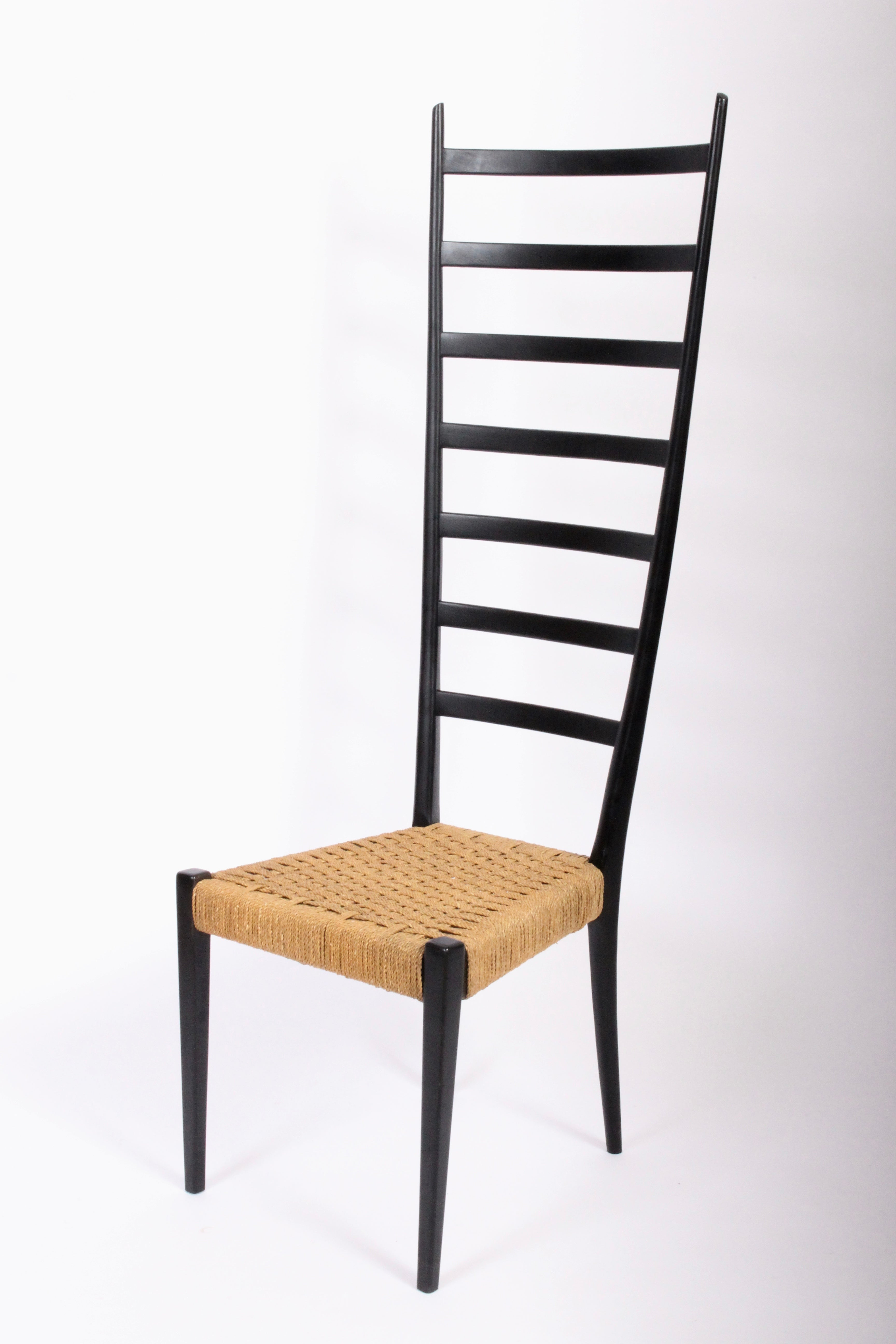 Picture of: Chiavari Extra Tall Black Ladder Back Chair With Rush Seat Circa 1960 At 1stdibs
