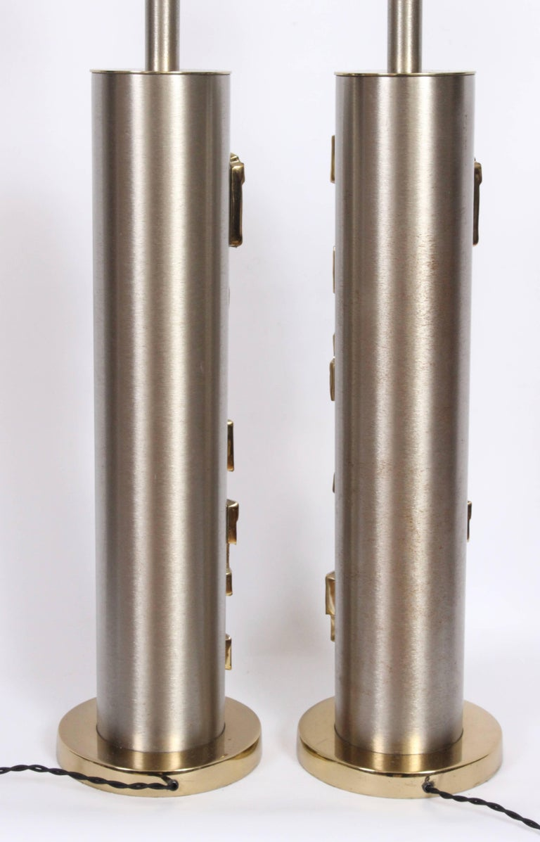 Mid-20th Century 1960s Tall Pair of Laurel Co. Brushed Steel & Brass Relief Brutalist Table Lamps For Sale
