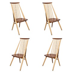 "Set of Four George Nakashima Style Beech and Cherry ""New"" Chairs, Circa 1970's"