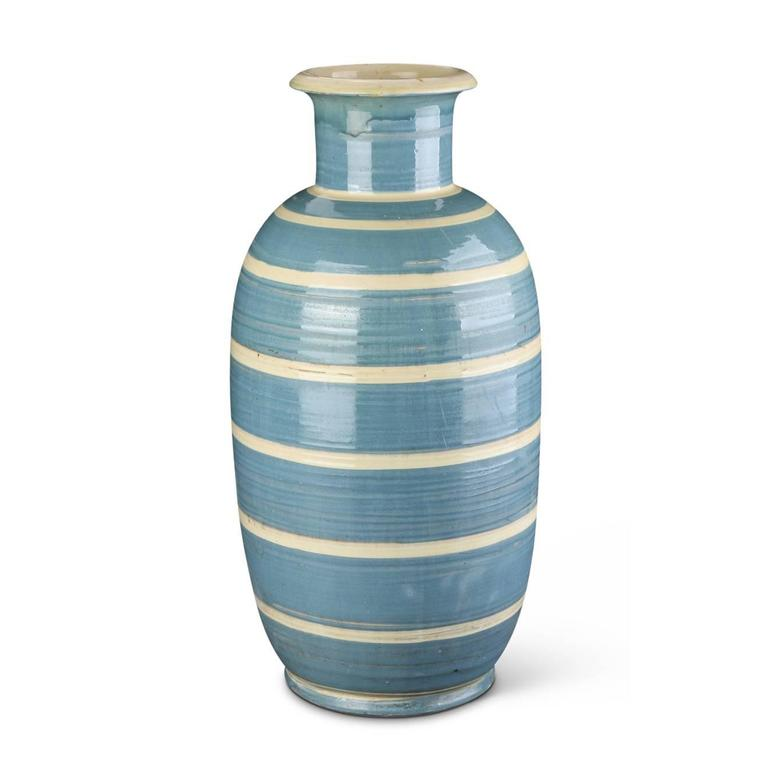 "Monumental vase with elongated oval form and neck with flared mouth in hand-turned earthenware, handsomely glazed in grey-blue with ivory stripes, Denmark, 1930s. Painted ""HAK"" mark."