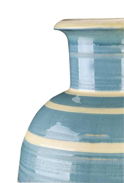 Danish Spectacular Monumental Art Deco Striped Vase by Kahler  For Sale