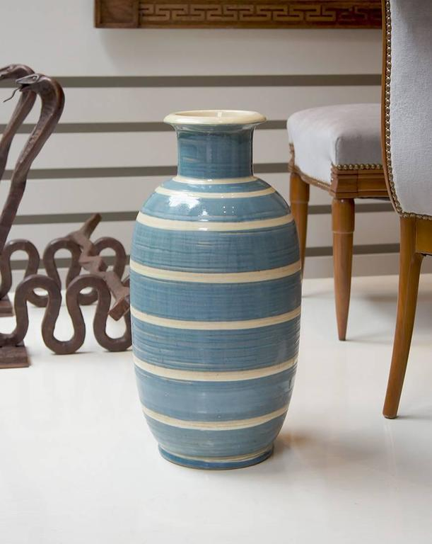 Hand-Crafted Spectacular Monumental Art Deco Striped Vase by Kahler  For Sale