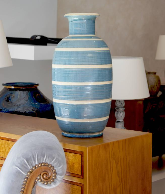 Spectacular Monumental Art Deco Striped Vase by Kahler  In Excellent Condition For Sale In New York, NY