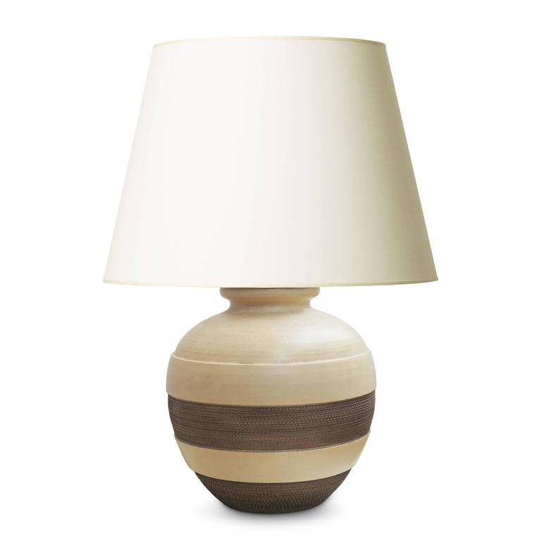 Late Art Deco Ceramic Table Lamp with Textured Bands by Jacques Adnet Attributed In Excellent Condition For Sale In New York, NY