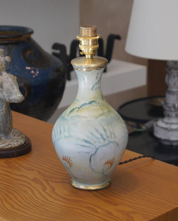 Art Deco Romantic Hand-Painted and Gilded Table Lamp by Josef Ekberg for Gustavsberg For Sale