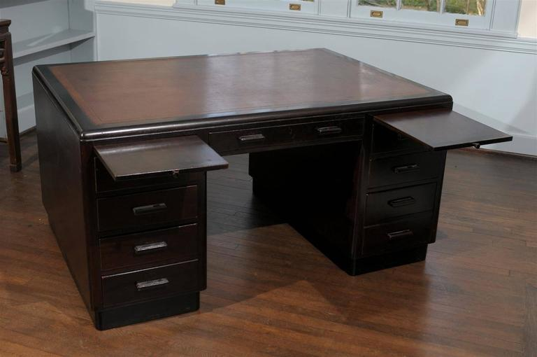 Leather English Art Deco Pedestal Desk For Sale
