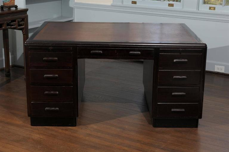 English Art Deco Pedestal Desk For Sale 4