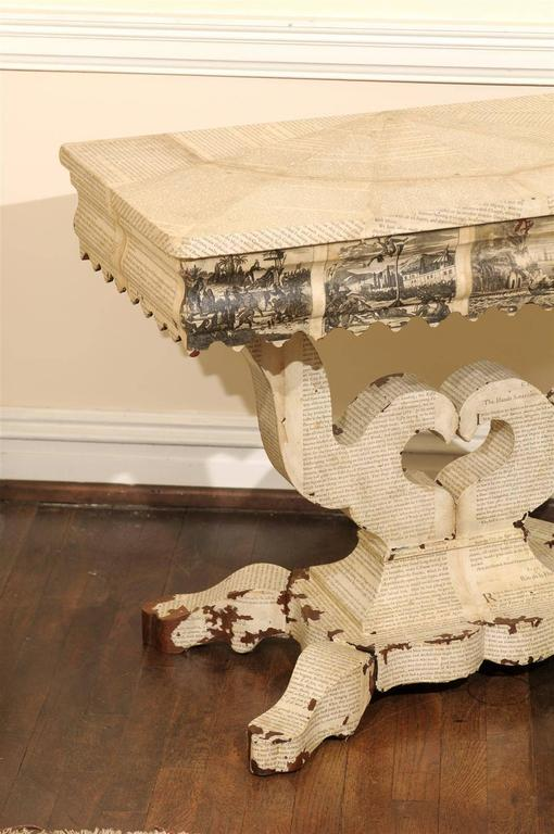 American Empire Decoupage Table For Sale 4