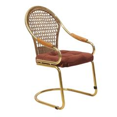 Brass and Cane Cantilevered Desk Chair