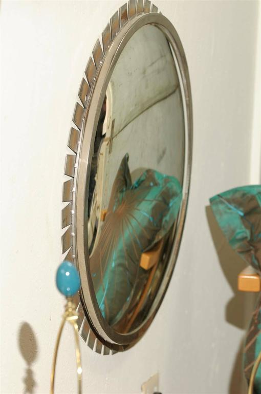 Glass Vintage Industrial Convex Mirror For Sale