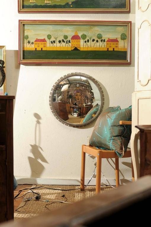 Vintage Industrial Convex Mirror In Excellent Condition For Sale In Atlanta, GA