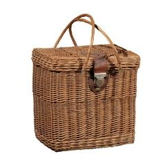 French Wicker Basket with Leather Buckle
