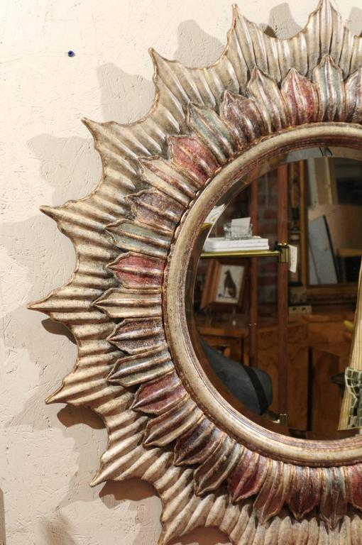 American Large Hollywood Regency Polychrome Sunburst Mirror For Sale