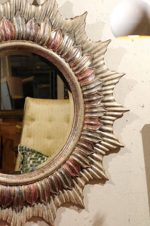 Large Hollywood Regency Polychrome Sunburst Mirror In Good Condition For Sale In Atlanta, GA