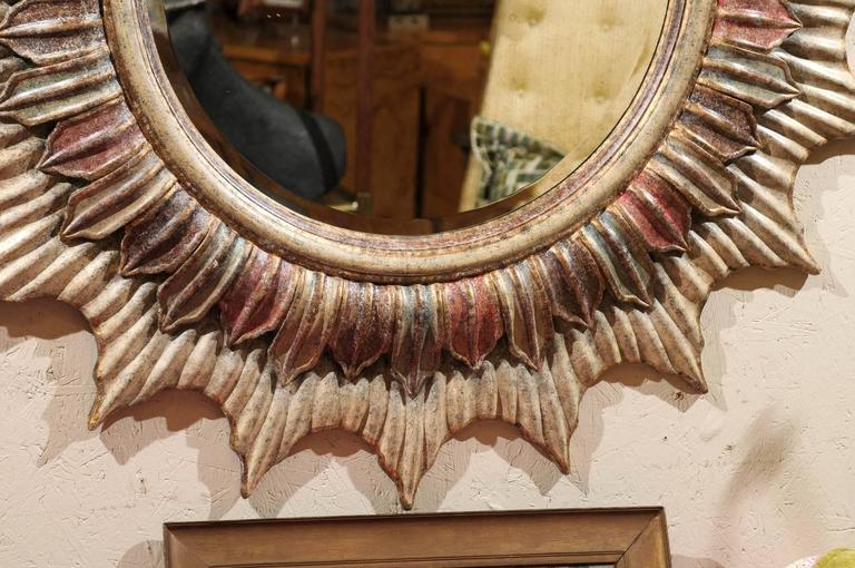 20th Century Large Hollywood Regency Polychrome Sunburst Mirror For Sale