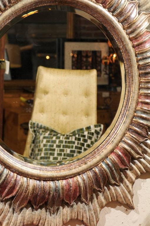 Large Hollywood Regency Polychrome Sunburst Mirror For Sale 1