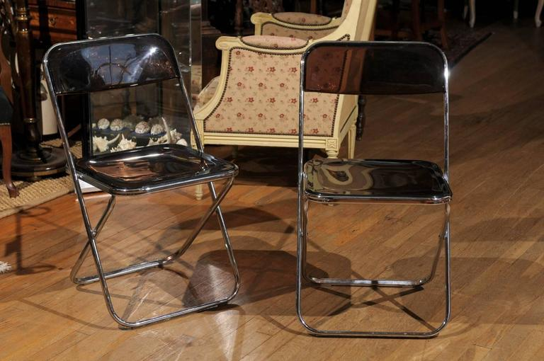Set of Four Smoked Lucite Folding Chairs For Sale at 1stdibs