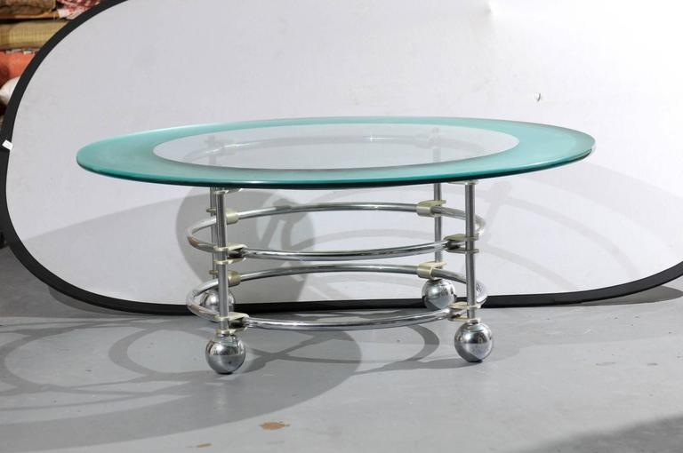 Jay Spectre for Century Chrome and Glass Coffee Table  2