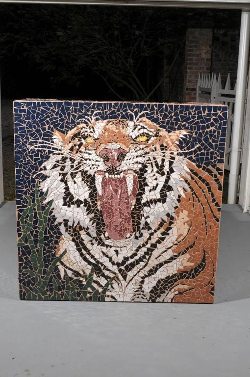 Bon American Modern Mosaic Tiger Coffee Table For Sale