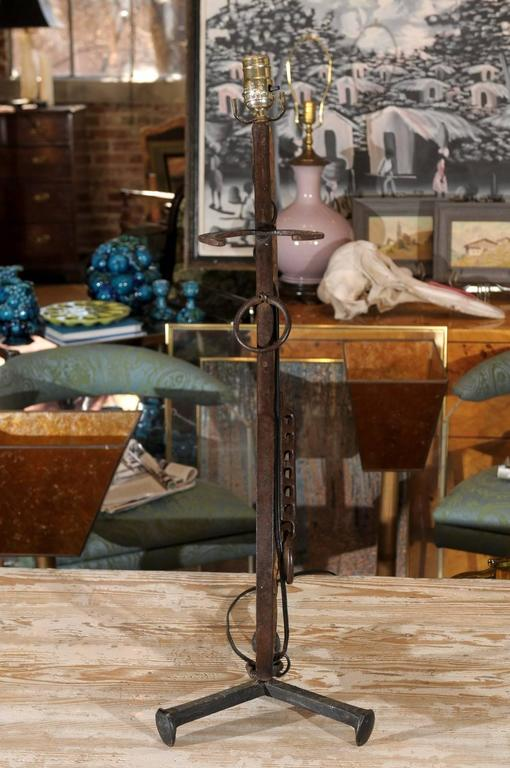 Vintage Folk Art Gun Lamp of Wrought Iron and Driftwood For Sale 1