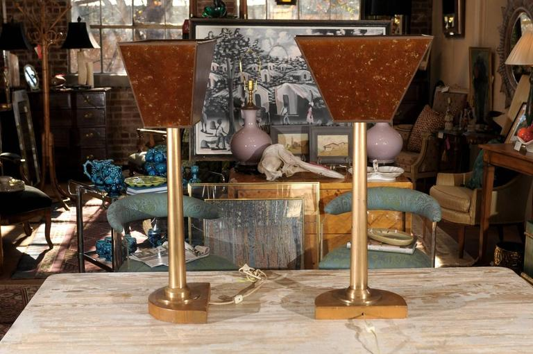 French Tall Pair of Machine Age Bronze Lamps For Sale