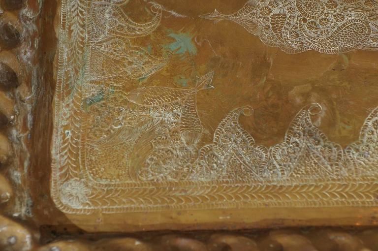 Indian Vintage Etched and Hammered Brass Tray Table For Sale