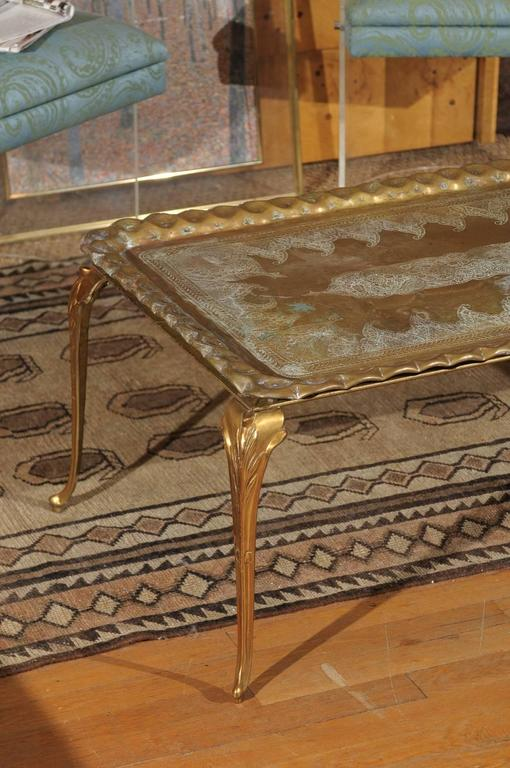 Vintage Etched and Hammered Brass Tray Table For Sale 1