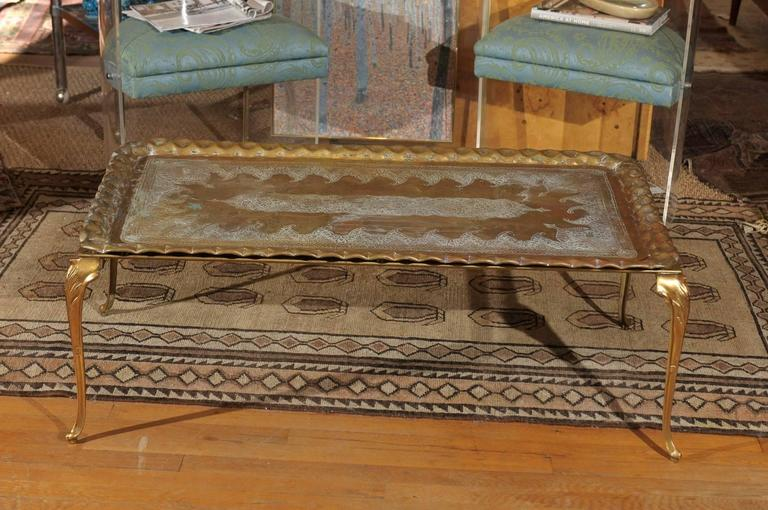 Vintage Etched and Hammered Brass Tray Table For Sale 2
