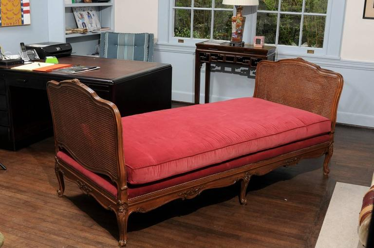 Louis XV Louis VX Cane and Walnut Daybed For Sale