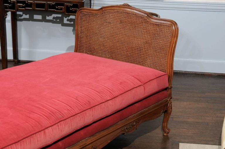 French Louis VX Cane and Walnut Daybed For Sale