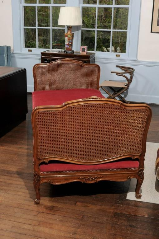 Velvet Louis VX Cane and Walnut Daybed For Sale