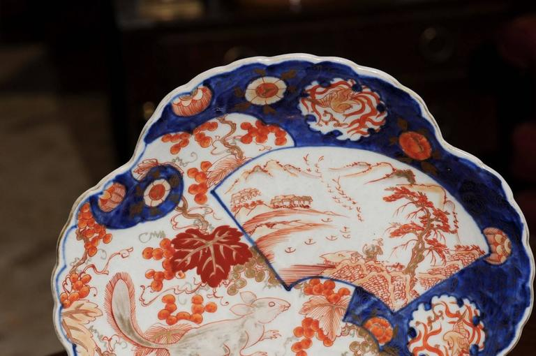 19th Century Japanese Shell Shaped Imari Plate  For Sale