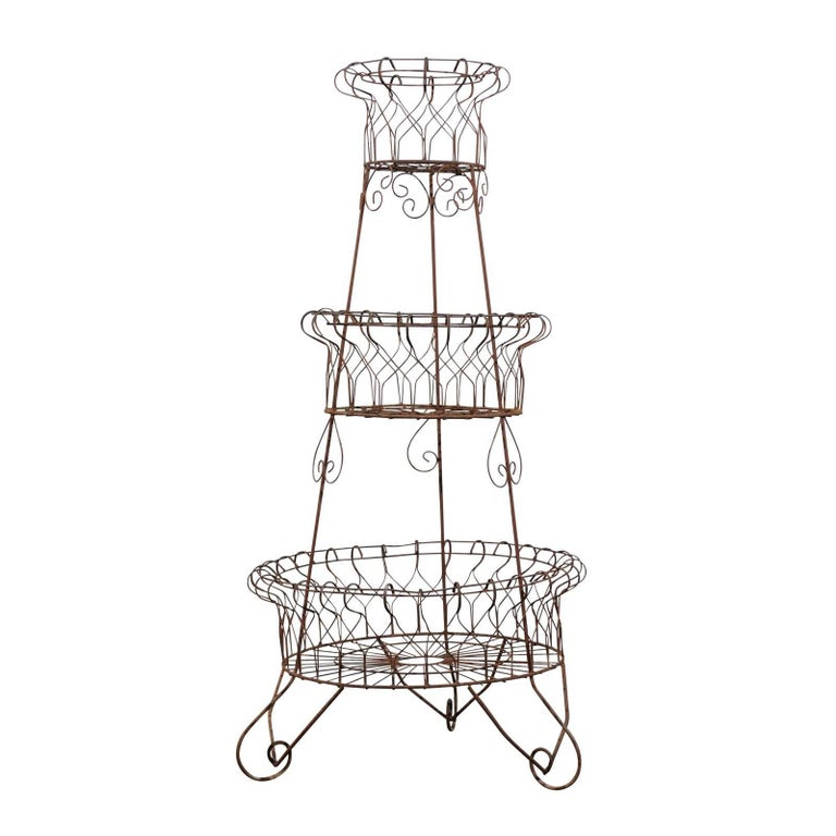 French Three-Tier Wire Planter For Sale